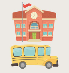 School building and bus transport vector