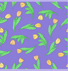 Seamless pattern with cute cartoon yellow flowers vector