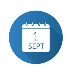 September 1st flat design long shadow glyph icon vector