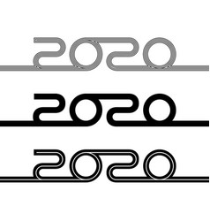 Set 2020 new year logo vector