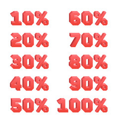 Set 3d discount numbers from 10 to 100 every 10 vector