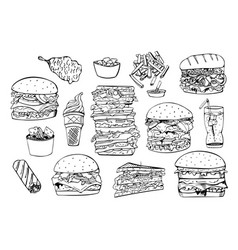 set fast foodhand drawn vector image