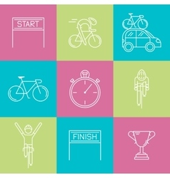 Set of 9 cycling race modern linear icons vector