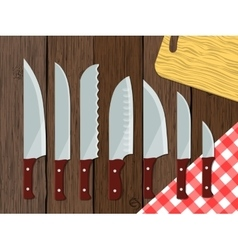 Set of knives on the table vector