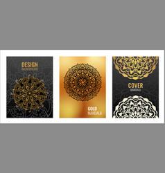 set poster golden mandala on black background vector image
