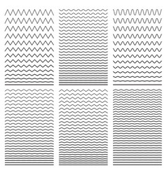 set wavy horizontal thin and thick lines vector image