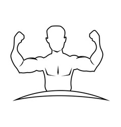 Silhouette half body muscle man vector