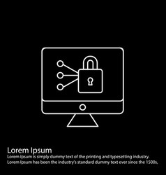 Simple line icon on black square background for vector