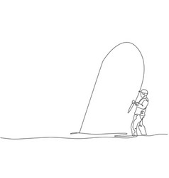 single continuous line drawing young happy vector image