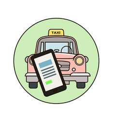 taxi concept man call a taxi by smartphone vector image
