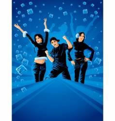 Teenagers dancing vector