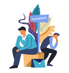unemployment two jobless sad unemployed men vector image