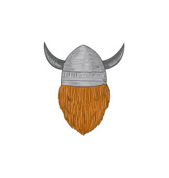 viking warrior head rear view drawing vector image