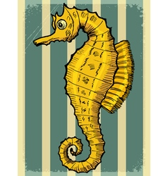 Vintage grunge background with sea horse vector