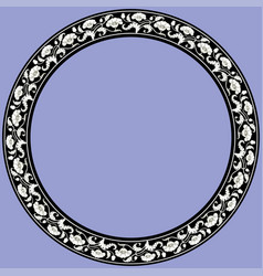 Vintage round frame with black and white tulips vector