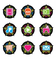 vintage star icons vector image