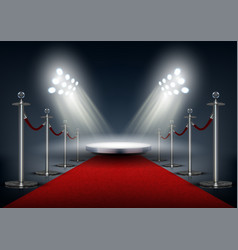 Vip event red carpet with round stage vector