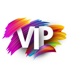 White vip sign with colorful brush strokes vector