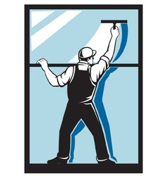 Window washer worker vector