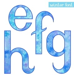 Winter watercolor font EFGH vector