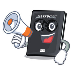 With megaphone black passport in a cartoon bag vector