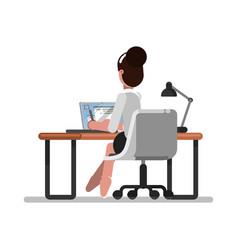 woman designer doing on tablet vector image