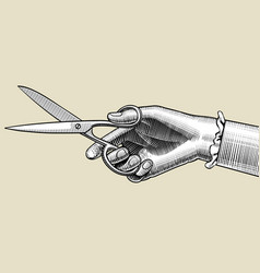 Womans hand with scissors vector