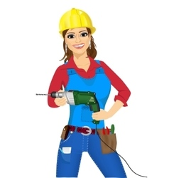 worker woman with drill vector image