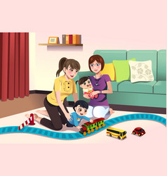 Young lesbian parents playing with their kids vector