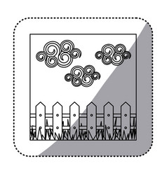 Figure wood grid with cloud and grass icon vector