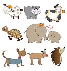 Funny animals cartoon set isolated on white vector