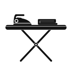 Ironing board with iron black simple icon vector image