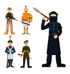 military soldier character weapon symbols armor vector image vector image
