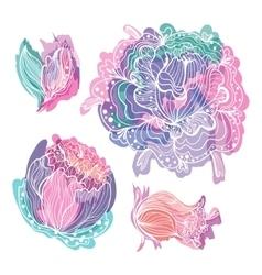 Pastel Doodle Romantic Flowers vector image