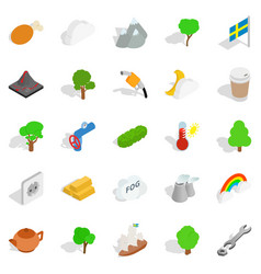 sweden weather icons set isometric style vector image vector image