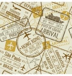 Vintage travel visa passport stamps vector image
