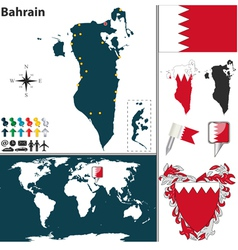 Bahrain map world vector image vector image