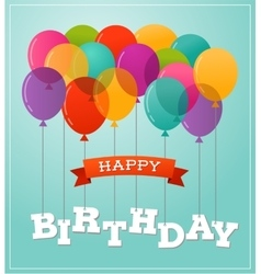 Balloons party happy birthday greeting card vector image vector image