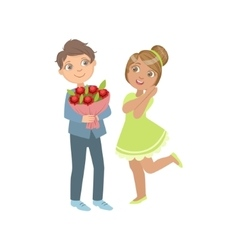 Boy Giving Flower Bouquet To A Girl vector image vector image