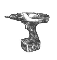 Drill logo design template screwdriver or vector