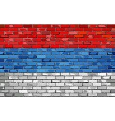 Flag of Serbia on a brick wall vector image vector image