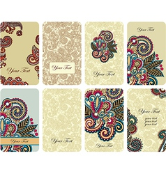 hand draw ornamental floral card set vector image vector image
