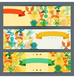 Horizontal banners with trophies and awards vector image