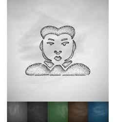 man icon Hand drawn vector image vector image