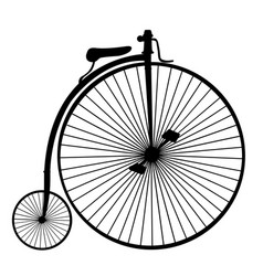 penny-farthing or high wheel bicycle silhouette vector image