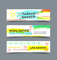 Banner with marker strokes vector image vector image