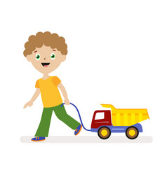 Boy with toy car on a string small child on a vector