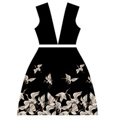 design dresses with japanese white cranes vector image vector image