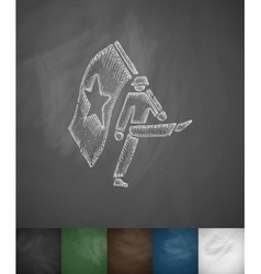 Marching with flag icon Hand drawn vector image vector image