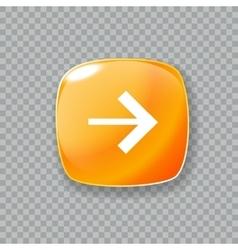 Right arrow icon glossy orange button vector